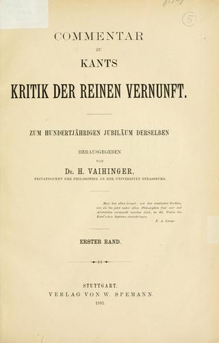 Download Commentar zu Kants Kritik der reinen Vernunft.