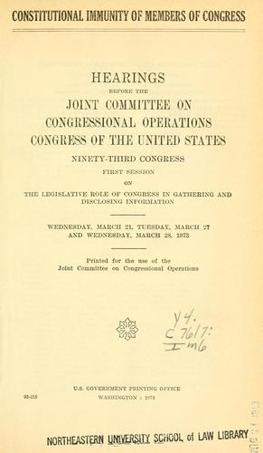 Download Constitutional immunity of members of Congress