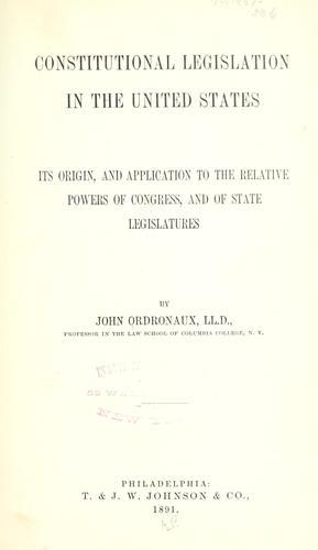 Constitutional legislation in the United States