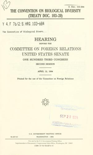 Download The Convention on Biological Diversity (Treaty doc. 103-20)