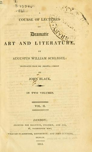 Download A course of lectures on dramatic art and literature
