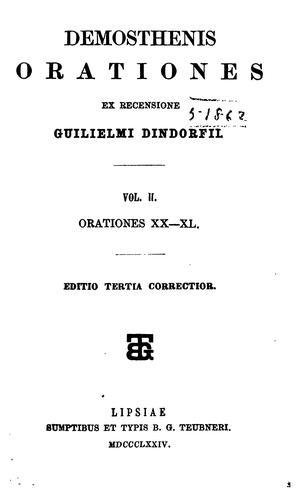 Orationes ex recensione Guilielmi Dindorfii…