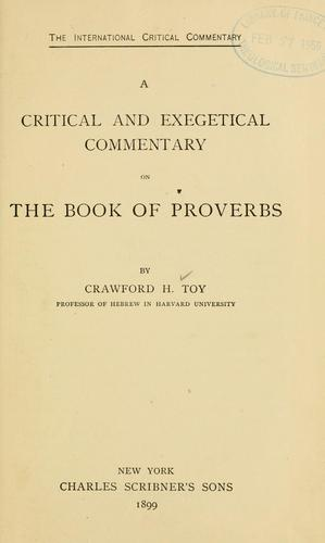 Download A critical and exegetical commentary on the book of Proverbs
