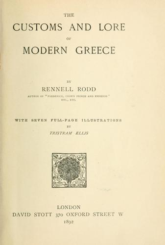 Download The customs and lore of modern Greece