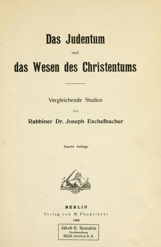 Download Das Judentum und das Wesen des Christentums