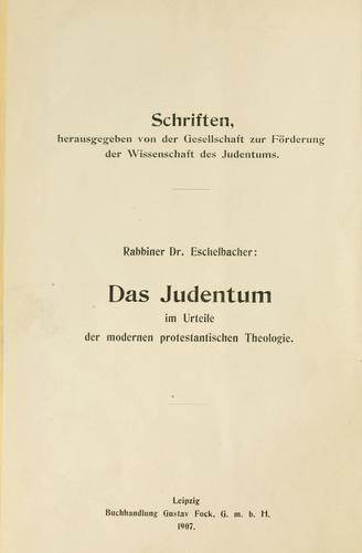Download Das Judentum im Urteile der modernen protestantischen Theologie.
