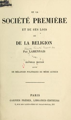 De la société première et de ses lois