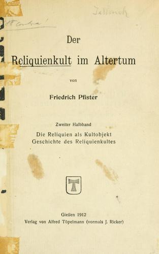 Download Der Reliquienkult im Altertum