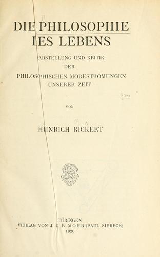 Download Die Philosophie des Lebens