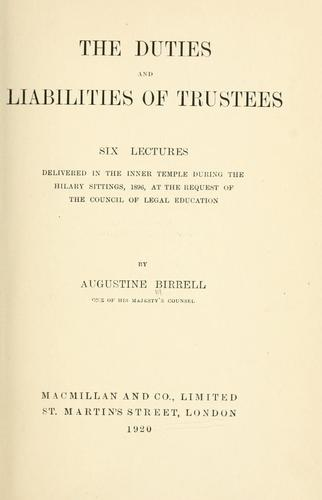 Download The duties and liabilities of trustees