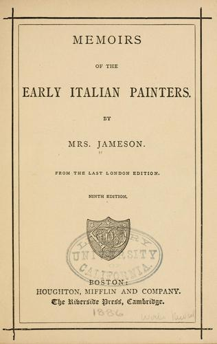 Download Memoirs of the early Italian painters.