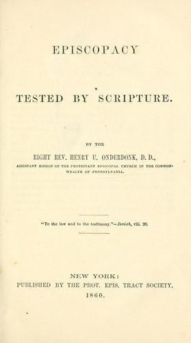 Download Episcopacy tested by Scripture.