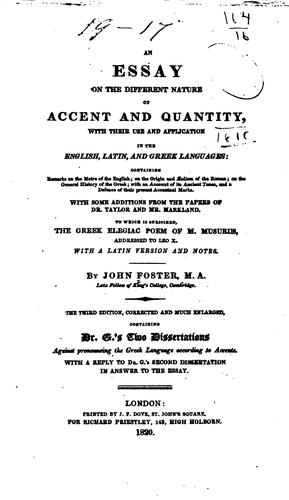 Download An essay on the different nature of accent and quantity