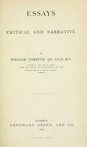 Essays critical and narrative.