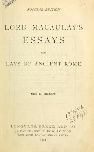 Download Essays and Lays of ancient Rome.