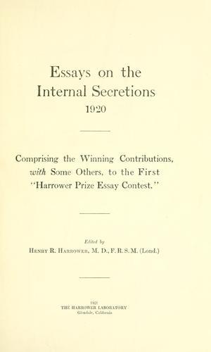 Essays on the internal secretions, 1920
