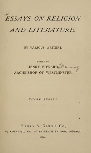 Essays on religion and literature by Henry Edward Manning