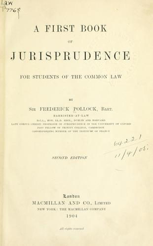 A first book of jurisprudence for students of the common law.