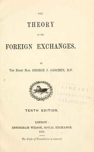 The theory of the foreign exchanges