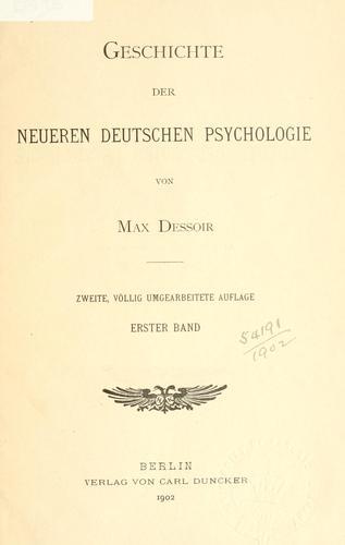 Geschichte der neueren deutschen Psychologie.