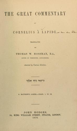 Download The great commentary of Cornelius à Lapide…