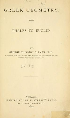 Greek geometry from Thales to Euclid.
