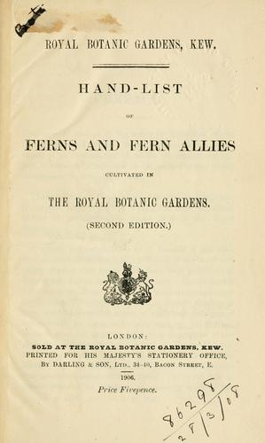 Download Hand-list of ferns and fern allies cultivated in the Royal Botanic Gardens.