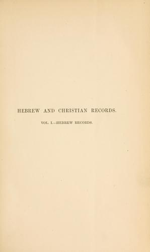 Hebrew and Christian records