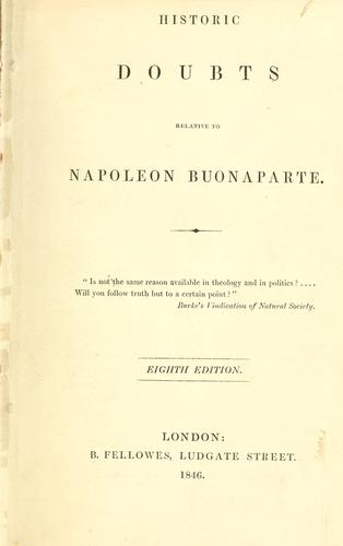 Download Historic doubts relative to Napoleon Buonaparte.