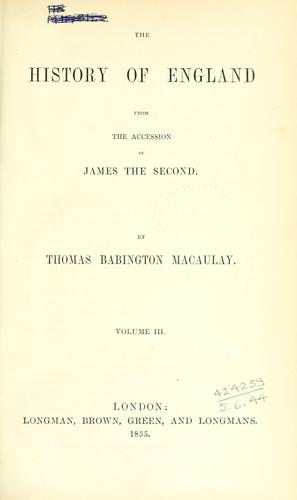 Download The history of England from the accession of James the Second.