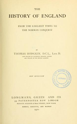 The history of England from the earliest times to the Norman conquest.