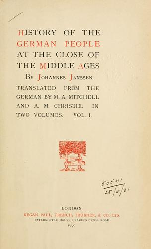 Download History of the German people at the close of the Middle Ages