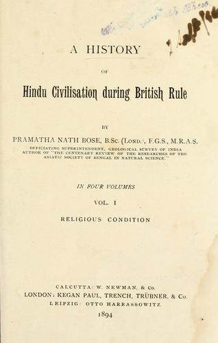 A history of Hindu civilisation during British rule