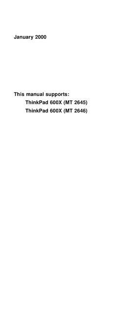 Laptop Service Manual: IBM THINKPAD 600X : Free Download, Borrow ...