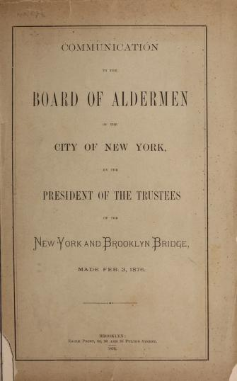 Communication to the Board of Aldermen of the City of New York by Seymour B. Durst