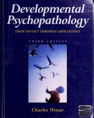 Cover of: Developmental Psychopathology | Charles Wenar