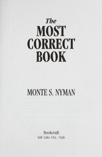 Cover of: The most correct book | Monte S. Nyman