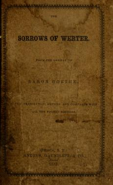 The sorrows of Werter by Johann Wolfgang von Goethe