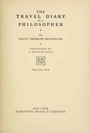 Cover of: The travel diary of a philosopher | Eduard von Keyserling