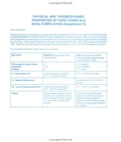 Physical and Thermodynamics Properties of Pure Chemical Supplement 9 by Tonya Marshall