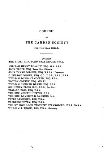 The Camden miscellany by Camden Society (Great Britain)