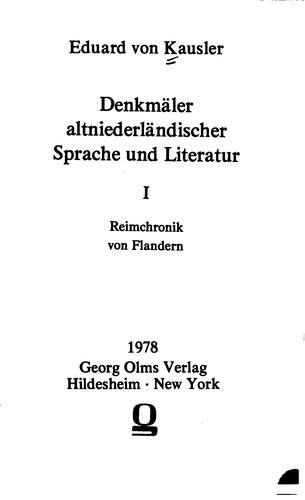 Denkmäler altniederländischer Sprache und Literatur