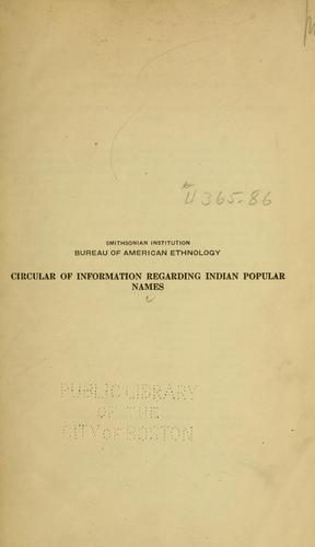 Circular of information regarding Indian popular names.