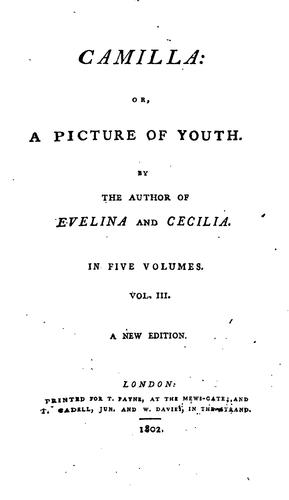 Camilla, Or, A Picture of Youth by Fanny Burney