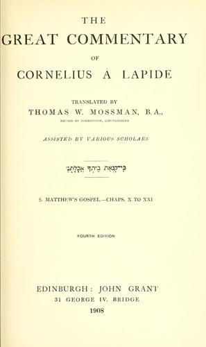 The great commentary of Cornelius à Lapide by Cornelius à Lapide