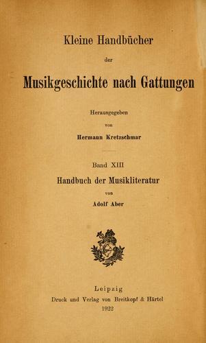Handbuch der musikliteratur in systematisch-chronologischer anordnung