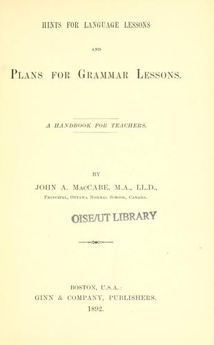 Hints for language lessons and plans for grammar lessons
