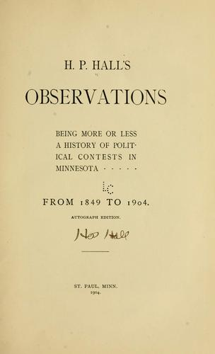 H. P. Hall's observations by H. P. Hall